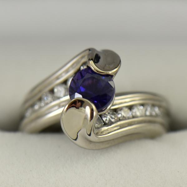 Custom palladium wedding ring with round blue purple color change sapphire 5