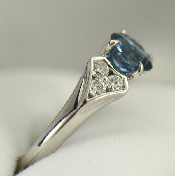 Deep Color Aquamarine  Diamond Engagement Ring santa maria 2