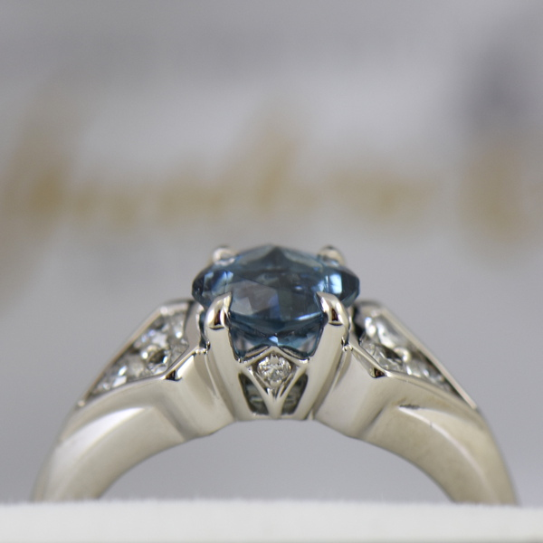 Deep Color Aquamarine  Diamond Engagement Ring santa maria 3