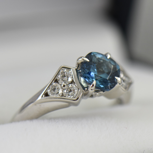 Deep Color Aquamarine  Diamond Engagement Ring santa maria 4