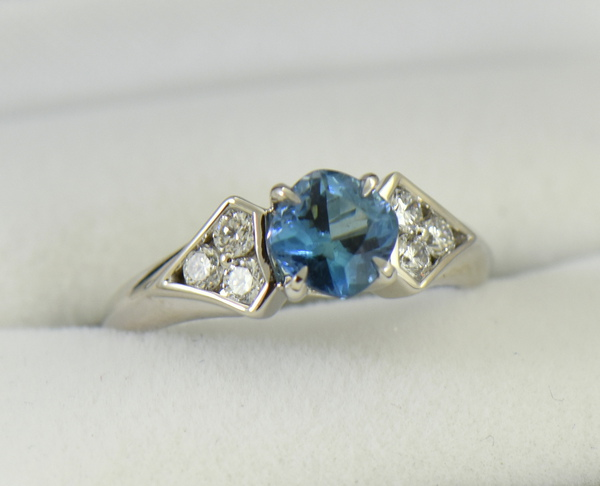 Deep Color Aquamarine  Diamond Engagement Ring santa maria 5
