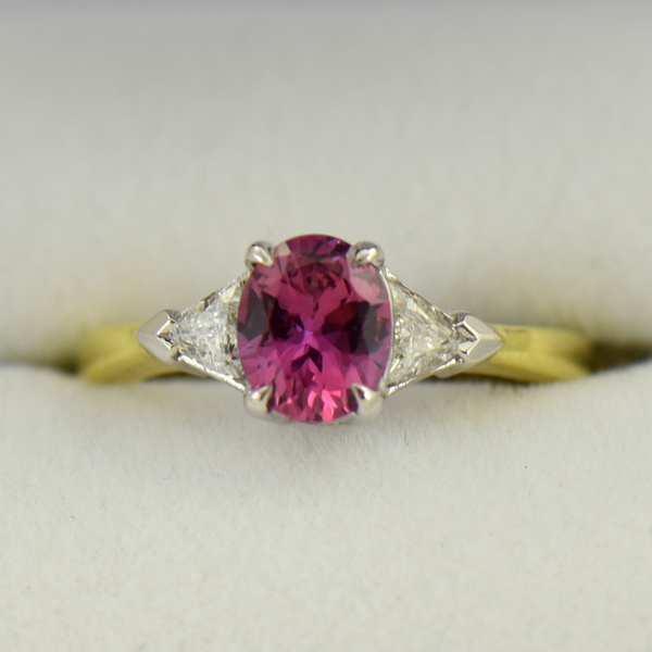 Deep Pink Sapphire  Trillion Diamond 3 stone Ring