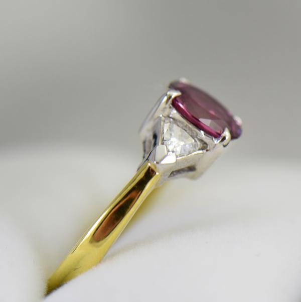Deep Pink Sapphire  Trillion Diamond 3 stone Ring 4