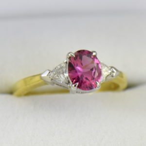 Deep Pink Sapphire  Trillion Diamond 3 stone Ring 5