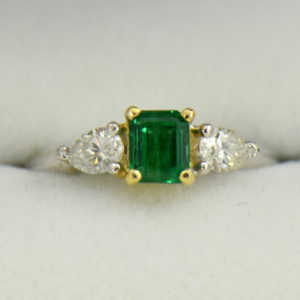 Emerald And Pear Diamond Ring Twotone Gold