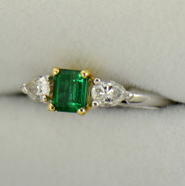 Emerald And Pear Diamond Ring Twotone Gold 2