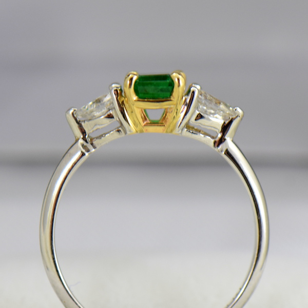 Emerald And Pear Diamond Ring Twotone Gold 3