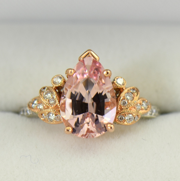 Exceptional Untreated Nigerian Morganite Pear Shape  Diamond ring in white and rose gold