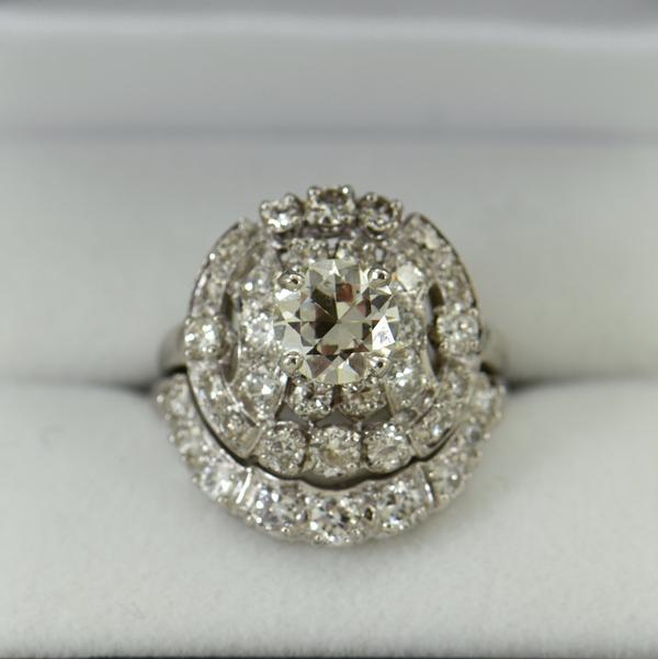 Fabulous Mid Century Diamond Wedding Set 3cttw Diamonds