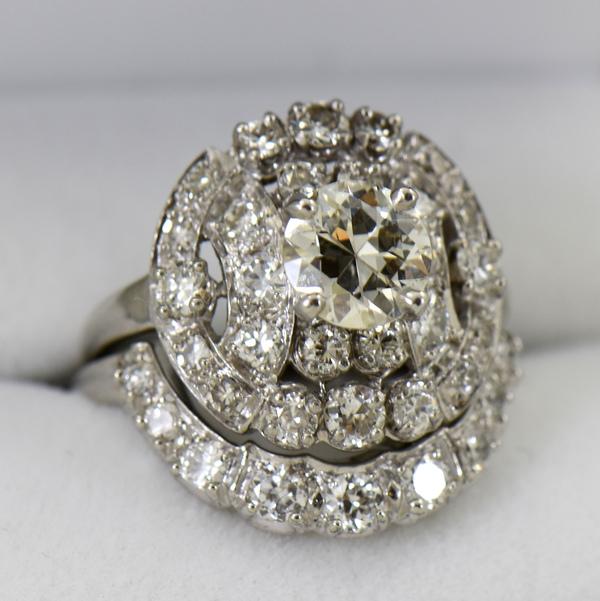 Fabulous Mid Century Diamond Wedding Set 3cttw Diamonds 2