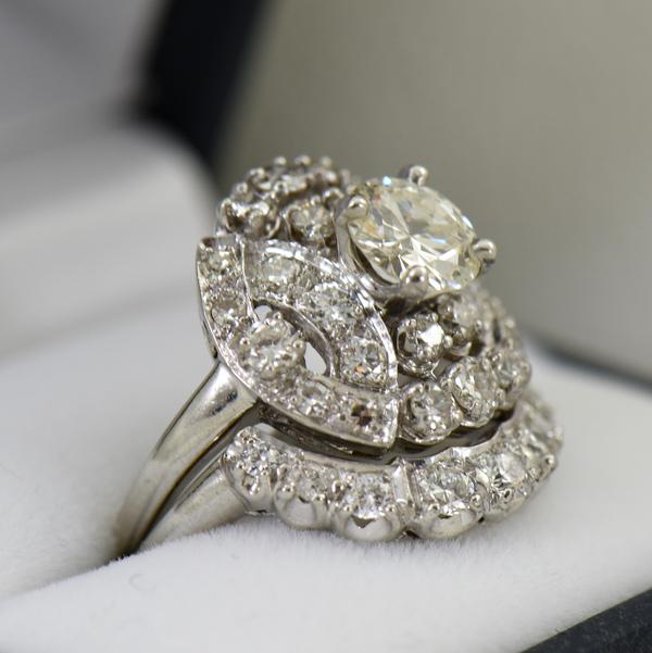 Fabulous Mid Century Diamond Wedding Set 3cttw Diamonds 3