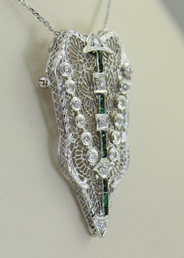 Filigree Art Deco Pin Pendant with calibre green glass and Diamonds 2