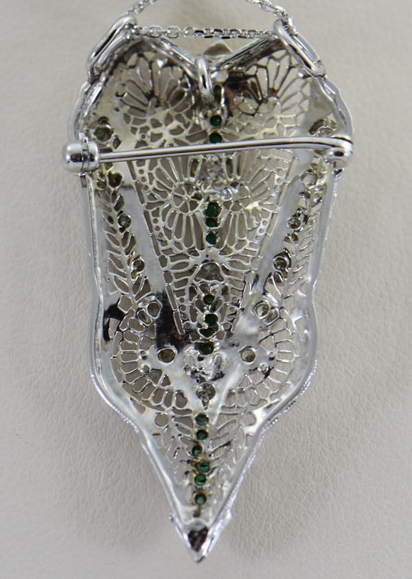 Filigree Art Deco Pin Pendant with calibre green glass and Diamonds 3