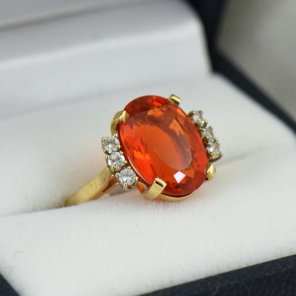Mandarin Orange Mexian Fire Opal Cocktail Ring