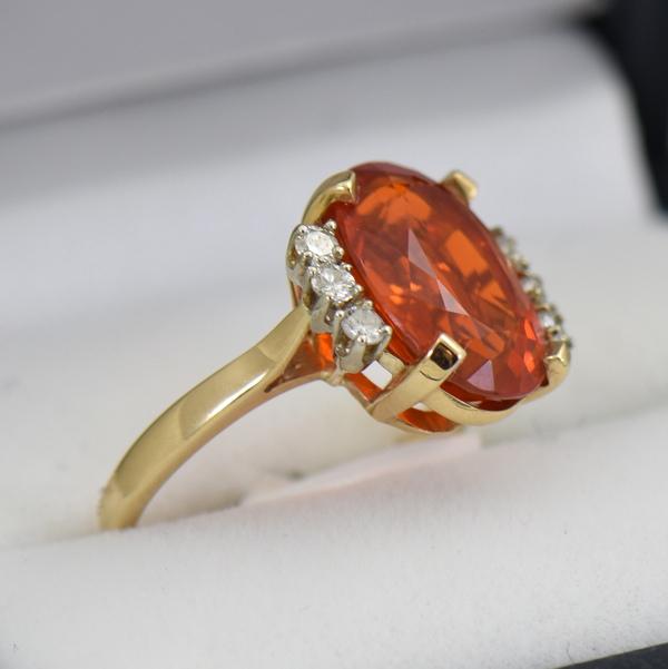 Mandarin Orange Mexian Fire Opal Cocktail Ring 3