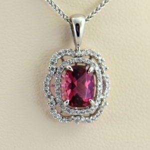 Nigerian Sunset Pink Tourmaline  Diamond Pendant