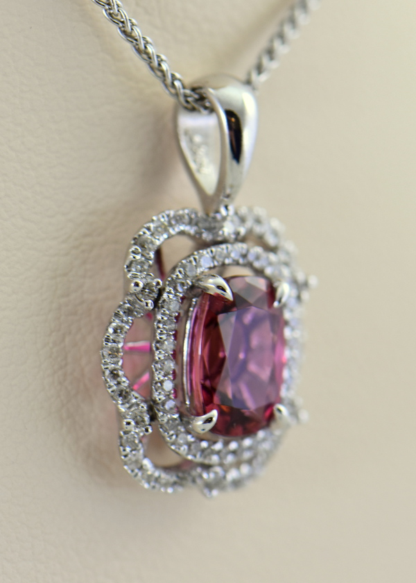 Nigerian Sunset Pink Tourmaline  Diamond Pendant 2