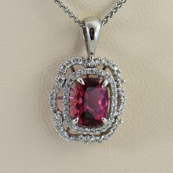 Nigerian Sunset Pink Tourmaline  Diamond Pendant 3