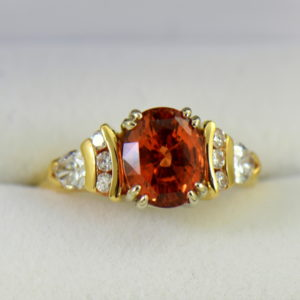 No Heat 3.70ct Orange Sapphire  Diamond Ring Yellow Gold