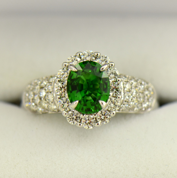 Oval Halo Ring with Chrome Tourmaline and Pave Diamond Accents
