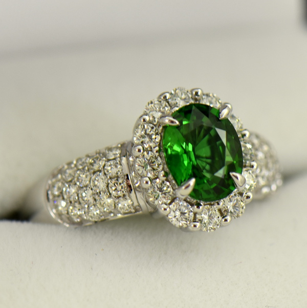 Oval Halo Ring with Chrome Tourmaline and Pave Diamond Accents 2