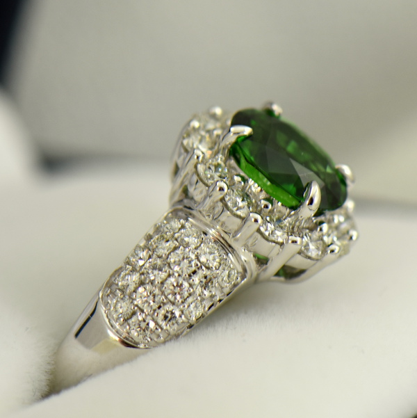 Oval Halo Ring with Chrome Tourmaline and Pave Diamond Accents 3