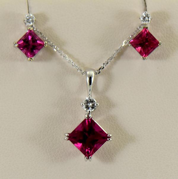 Pinkish Red Rubellite Tourmaline Pendant  Earrings Set