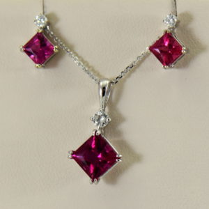 Pinkish Red Rubellite Tourmaline Pendant  Earrings Set 2