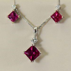 Pinkish Red Rubellite Tourmaline Pendant  Earrings Set 2