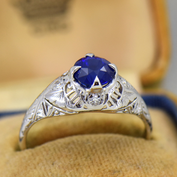 Round Royal Blue Sapphire Engagement Ring in Deco Platinum Mounting