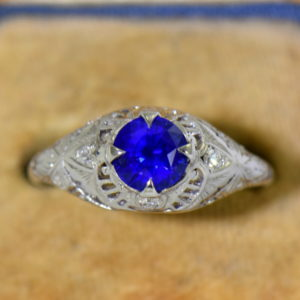Round Royal Blue Sapphire Engagement Ring in Deco Platinum Mounting 4