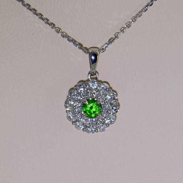 Russian Demantoid Garnet  Diamond Halo Pendant