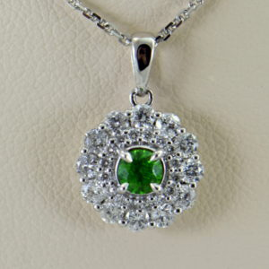 Russian Demantoid Garnet  Diamond Halo Pendant 3