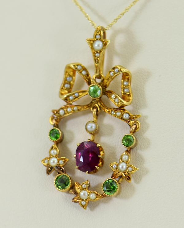 Victorian Suffragette Wreath Pendant with Unheated Ruby Demantoids  Pearls
