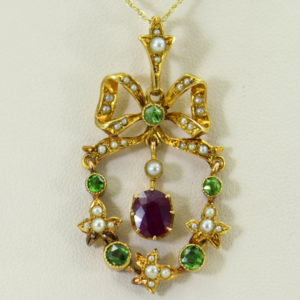 Victorian Suffragette Wreath Pendant with Unheated Ruby Demantoids  Pearls 2