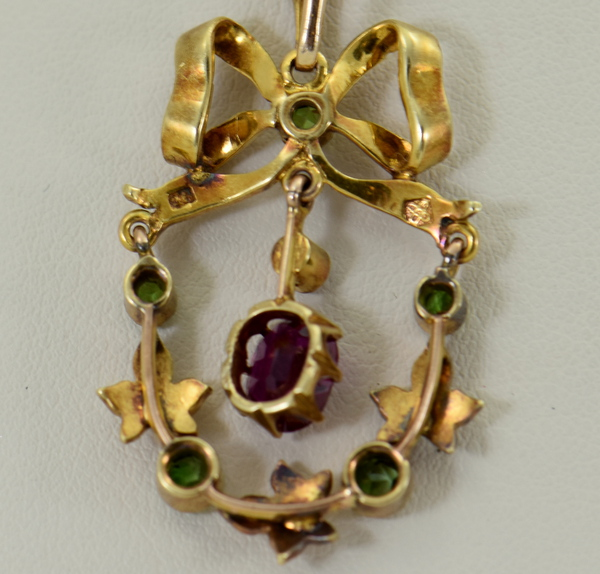 Victorian Suffragette Wreath Pendant with Unheated Ruby Demantoids  Pearls 4