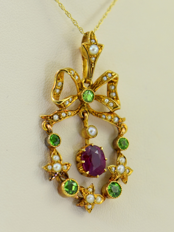 Victorian Suffragette Wreath Pendant with Unheated Ruby Demantoids  Pearls 5