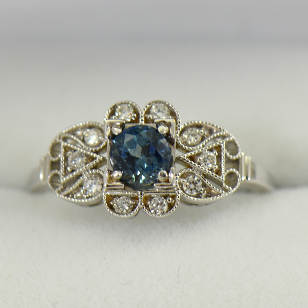 Vintage Style Teal Blue Montana Sapphire Engagement Ring