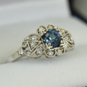 Vintage Style Teal Blue Montana Sapphire Engagement Ring 2