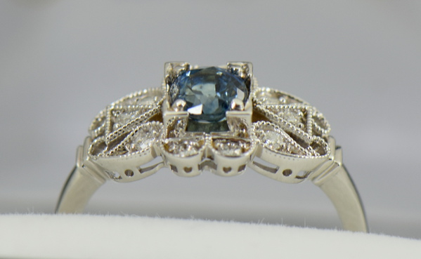 Vintage Style Teal Blue Montana Sapphire Engagement Ring 3