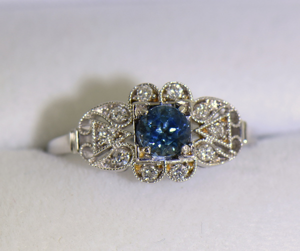 Vintage Style Teal Blue Montana Sapphire Engagement Ring 4