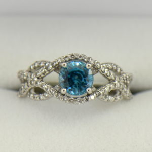 Woven Diamond Ring with Round Blue Zircon