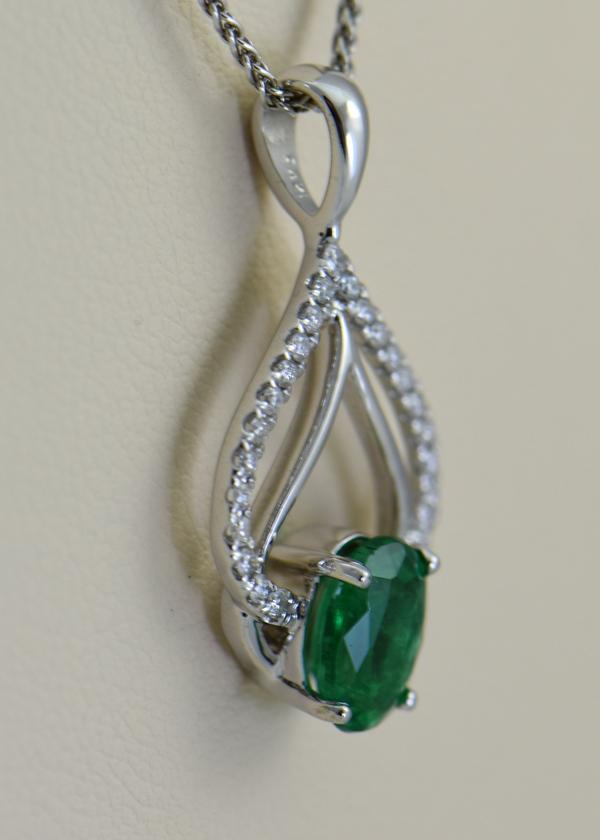 Zambian Emerald and Diamond Pendant 2