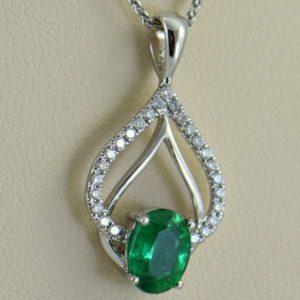Zambian Emerald and Diamond Pendant 3