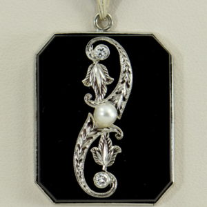 Art Deco Onyx and Diamond Necklace.JPG