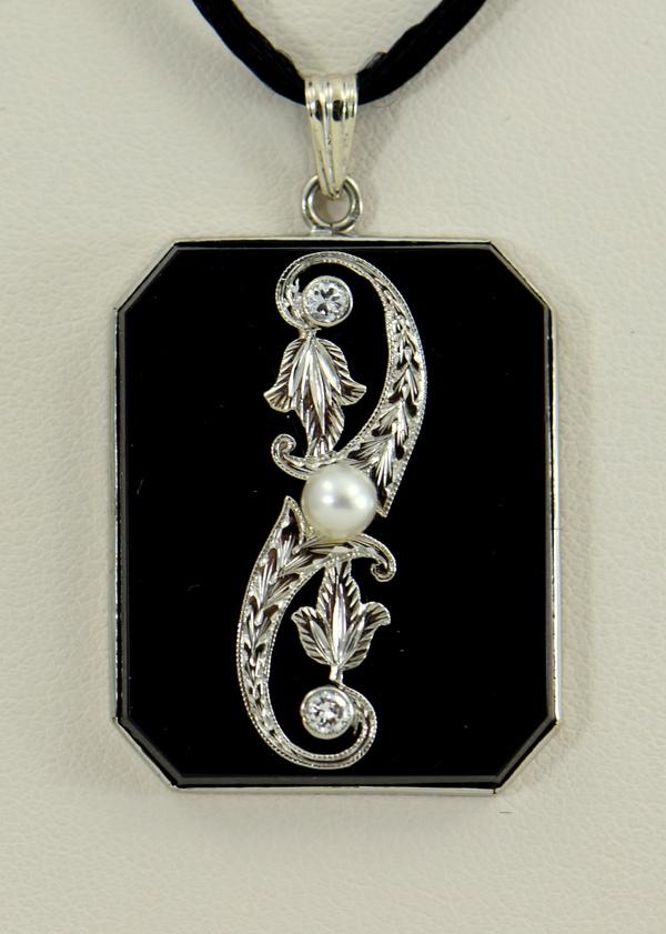 Art Deco Onyx and Diamond Necklace.JPG