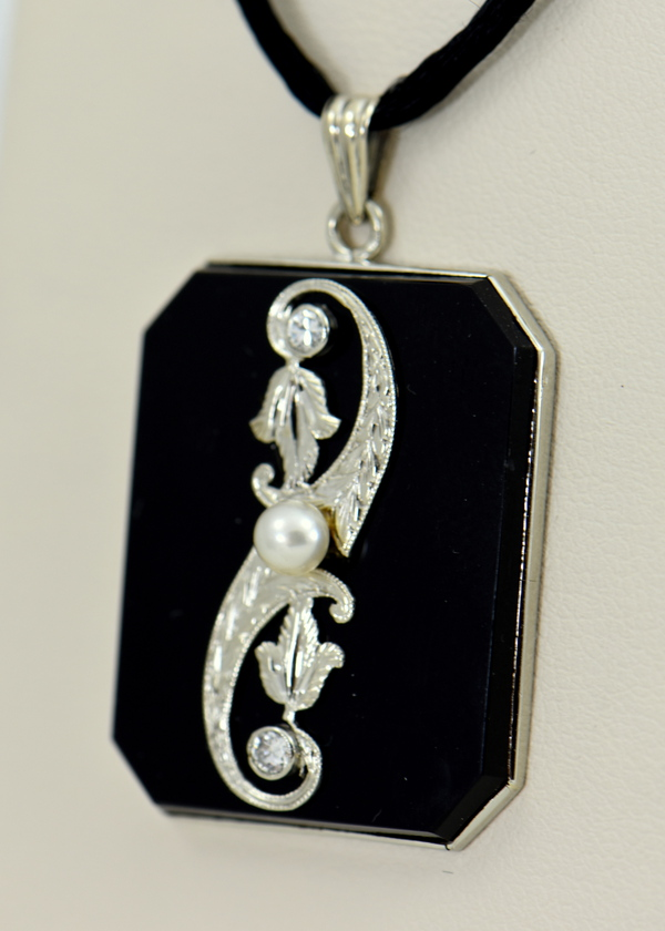 Art Deco Onyx and Diamond Necklace 2.JPG