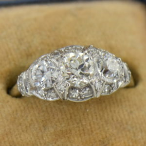 Granat Signed Art Deco Platinum Diamond 3 Stone Ring