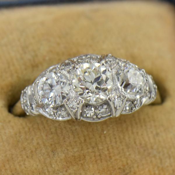 Granat Signed Art Deco Platinum Diamond 3 Stone Ring