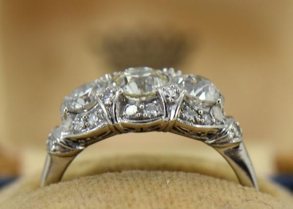 Granat Signed Art Deco Platinum Diamond 3 Stone Ring 2